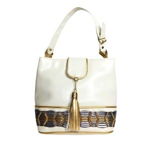 Vintage 80s Tassel Gold & Cream Tote Vegan Leather